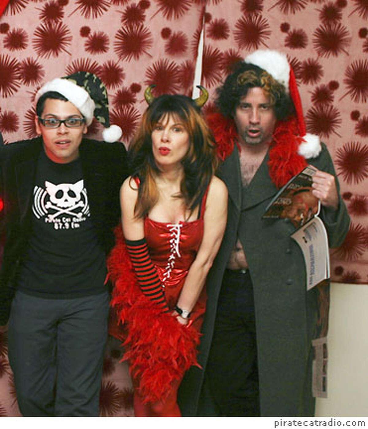 L-R: Monkeyman, Karla LaVey, Stoo Odom - participants in Black X Mass. Photo credit: piratecatradio.com