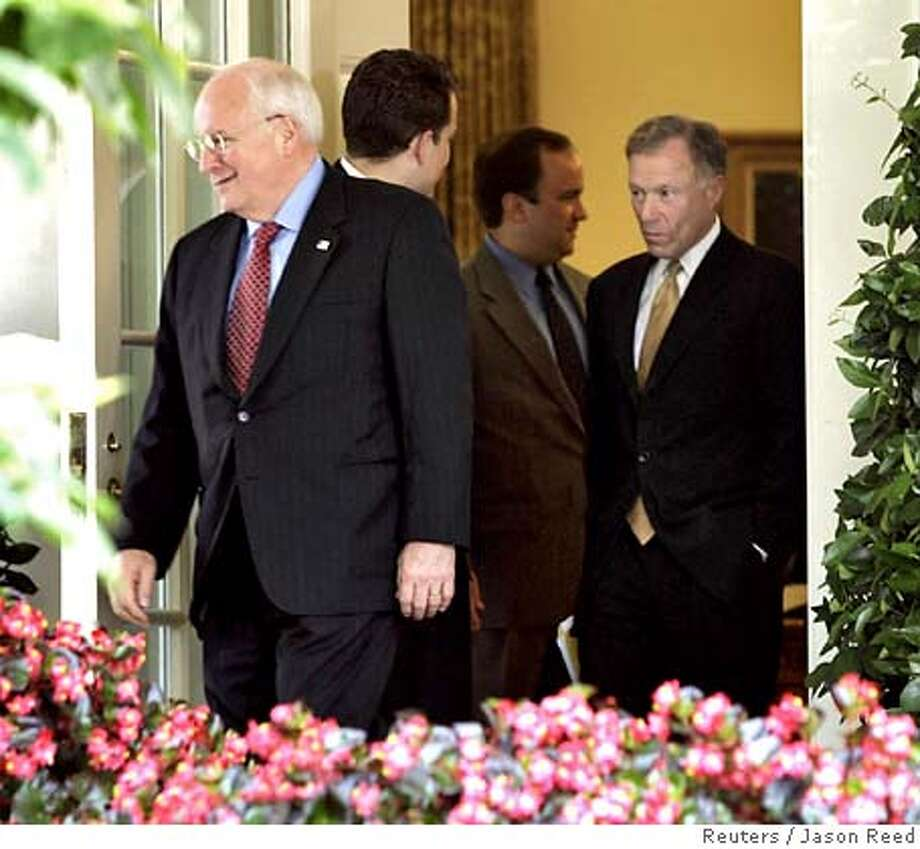 "U.S. Vice President Dick Cheney (L) and his Chief of Staff Lewis ""Scooter"" Libby (R) walk out of the Oval Office of the White House after a meeting in this July 1, 2005, file picture. After being locked up in jail for nearly three months, New York Times reporter Judith Miller was released on Thursday after agreeing to testify before a grand jury investigating who in the Bush administration leaked a covert CIA operative's name. Miller said in a statement issued by the newspaper she was freed after her source -- identified by the Times as Cheney's chief of staff, Lewis Libby -- ""voluntarily and personally released me from my promise of confidentiality regarding our conversations."" REUTERS/Jason Reed Ran on: 10-01-2005  Lewis Libby and other conservatives founded the Project for the New Amer- ican Century in 1997. Ran on: 10-16-2005  Vice President Dick Cheney (left) and Lewis &quo;Scooter&quo; Libby (right) file out of the Oval Office in July. Ran on: 10-16-2005  Vice President Dick Cheney (left) and Lewis &quo;Scooter&quo; Libby (right) file out of the Oval Office in July. Ran on: 10-16-2005  Vice President Dick Cheney (left) and Lewis &quo;Scooter&quo; Libby (right) file out of the Oval Office in July. 0 Photo: JASON REED"