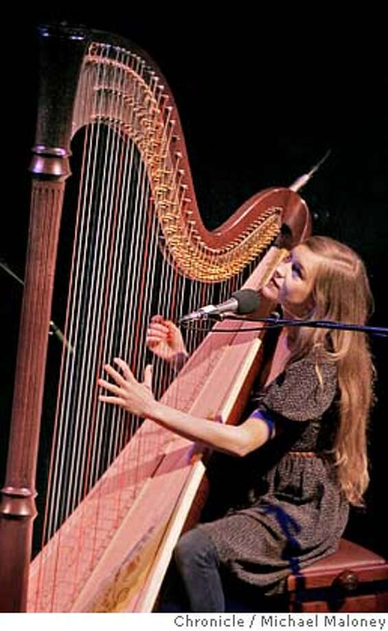 Joanna Newsom, a critically-acclaimed Nevada City singer-songwriter who also plays the harp, performed at the Great American Music Hall Monday night.  Photo by Michael Maloney / San Francisco Chronicle MANDATORY CREDIT FOR PHOTOG AND SF CHRONICLE/ -MAGS OUT Photo: Michael Maloney