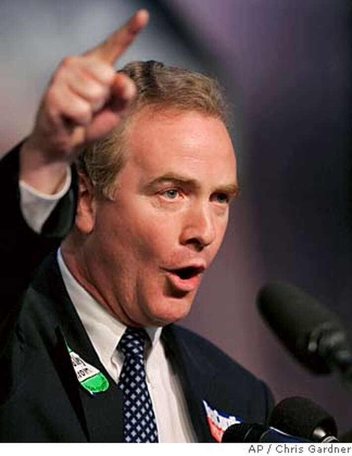 Democratic candidate for the U.S. House, Rep. Chris Van Hollen, D-Md., gestures as he gives a speech during a campaign event in Silver Spring, Md., Monday, Nov. 6, 2006..(AP Photo/Chris Gardner) Photo: CHRIS GARDNER