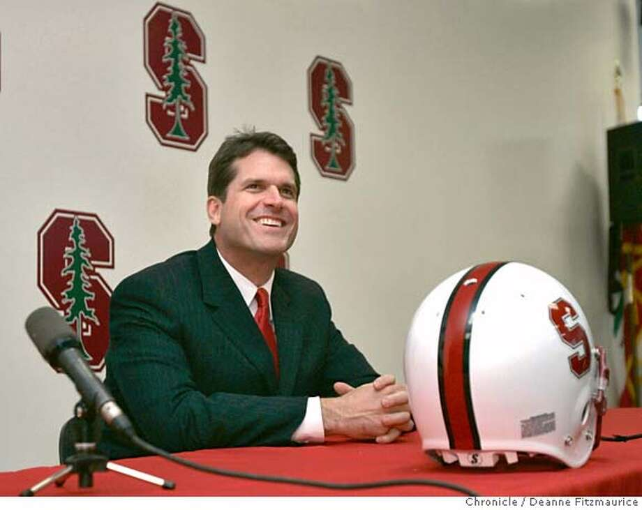 Jim Harbaugh is introduced at a press conference as head coach for Stanford football. Photographed in Palo Alto on 12/19/06. (Deanne Fitzmaurice/ The Chronicle) Photo: Deanne Fitzmaurice