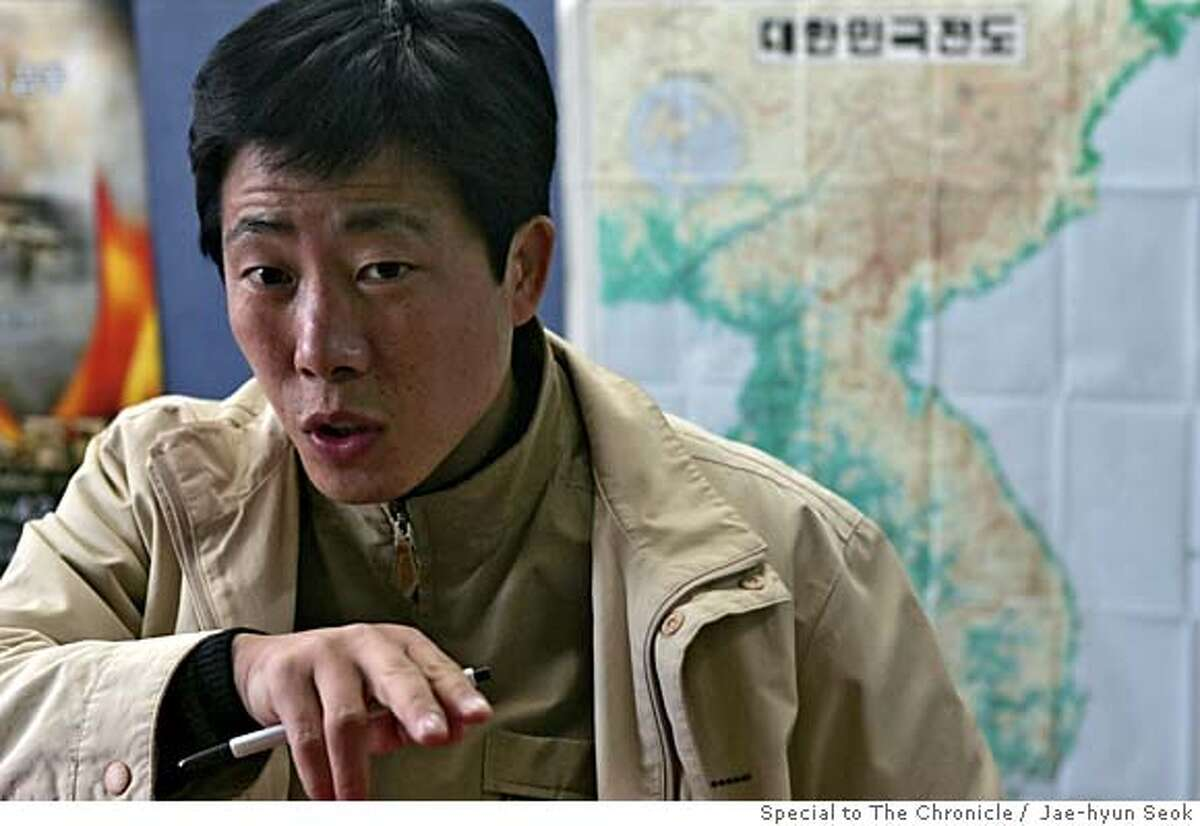 Park Sang Hak, the Chairman of NK Gulag, explains about the circumstance of North Korea. (Nov 17, 2006) Photo by Jae-hyun Seok / Special to The Chronicle