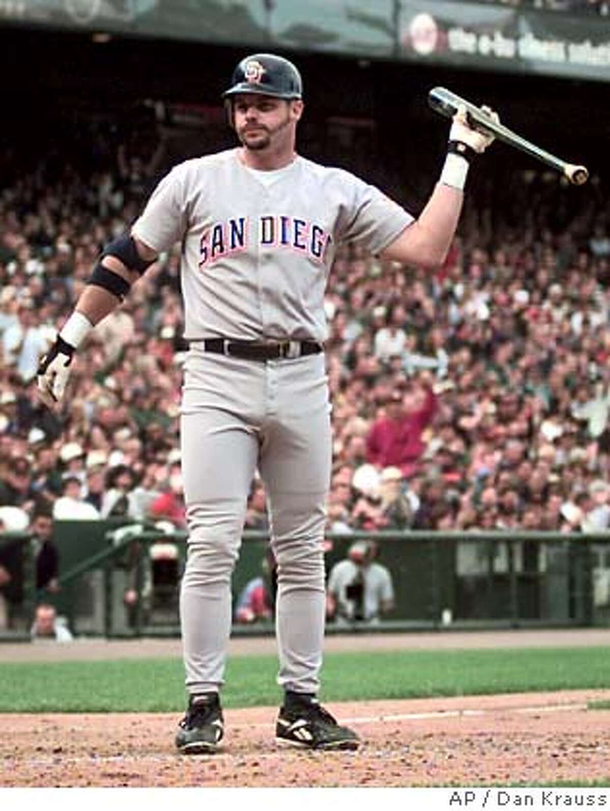 San Diego Padres' Ryan Klesko throws his bat in disgust after striking out in the eighth inning against the San Francisco Giants at Pac Bell Park in San Francisco on Thursday, July 20, 2000. The Giants won 7-3. (AP Photo/Dan Krauss) DIGITAL IMAGE