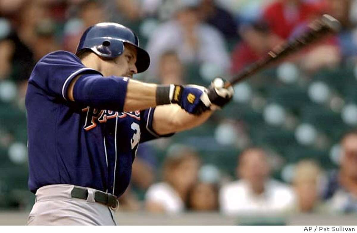 San Diego Padres' Ryan Klesko swings for a three-run home run in the first inning against the Houston Astros Monday, May 21, 2001, in Houston. Klesko connected for another three-run homer in the seventh inning.(AP Photo/Pat Sullivan) ALSO RAN: 05/23/2001 ALSO Ran on: 04-09-2006 Padres first baseman Ryan Klesko is expected to miss 2-4 months following shoulder surgery.Ran on: 04-09-2006 Padres first baseman Ryan Klesko is expected to miss 2-4 months following shoulder surgery.Ran on: 04-09-2006 CAT