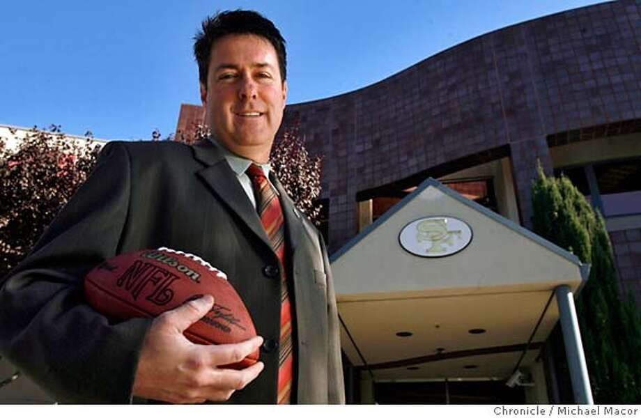 moore_014_mac.jpg Moore is hoping that the San Francisco Forty Niners will someday be playing their home games across the street from their headquarters and practice facility, which Moore is standing in front of. Kevin Moore is the man who would be king -- or at least regarded by many in Santa Clara as royalty -- if his efforts to have the San Francisco 49ers move to the city succeeds. Moore, a city council member and the vice mayor, has been the driving force in trying to bring the team to Santa Clara. A look at the drive and persistance of an avid Giant's and Niners fan who is on a mission to bring professional sports to the town where he grew up. Moore has been the point person on talks with the 49ers for months. Event in, Santa Clara, Ca, on 12/1/06. Photo by: Michael Macor/ San Francisco Chronicle Mandatory credit for Photographer and San Francisco Chronicle / Magazines Out Photo: Michael Macor