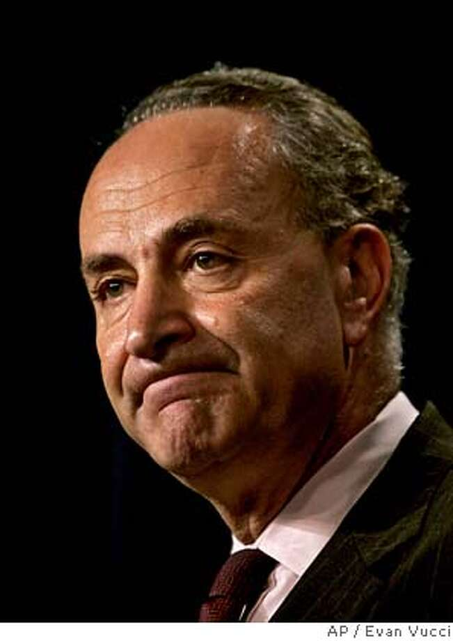 Sen. Charles Schumer, D-N.Y., meets with reporters on Capitol Hill, Tuesday, June, 13, 2006 to comment on the decision of special prosecutor Patrick Fitzgerald not to file charges against White House aide Karl Rove. (AP Photo/Evan Vucci)  Ran on: 06-19-2006  Chuck Schumer  Ran on: 06-19-2006  Chuck Schumer  Ran on: 06-19-2006  Chuck Schumer Photo: EVAN VUCCI