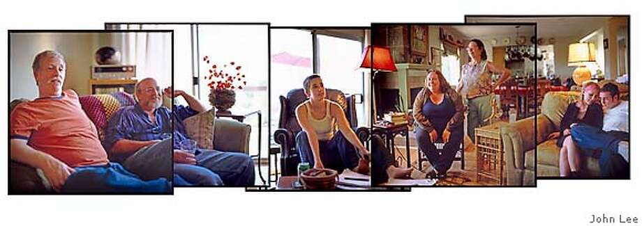 �OPENADOPTION_COMPOSITE_JOHNLEE.jpg FROM LEFT: Jed Somit, John Rausch, Julia Somit, Claudia Rausch, Toni Manes, NAME TO COME, and Jacob Somit. All sitting in the living room of the Somit's Moraga home on Oct 7, 2006. By JOHN LEE/SPECIAL TO THE CHRONICLE Photo: JOHN LEE