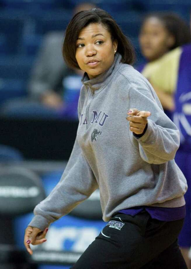 Prairie View A&M head coach Toyelle Wilson gestures to players during practice in Bridgeport, Conn., Friday, March 16, 2012. Prairie View A&M is to play Connecticut in an NCAA tournament first-round women's college basketball game on Saturday.  (AP Photo/Jessica Hill) Photo: Jessica Hill / AP2012