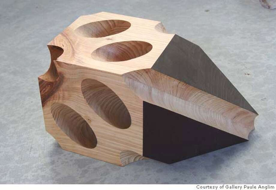 """Caption: """"Cube Study with Shadow"""" (2006) wood, milk paint by Gay Outlaw Courtesy of Gallery Paule Anglim, San Francisco Photo: Ho"""