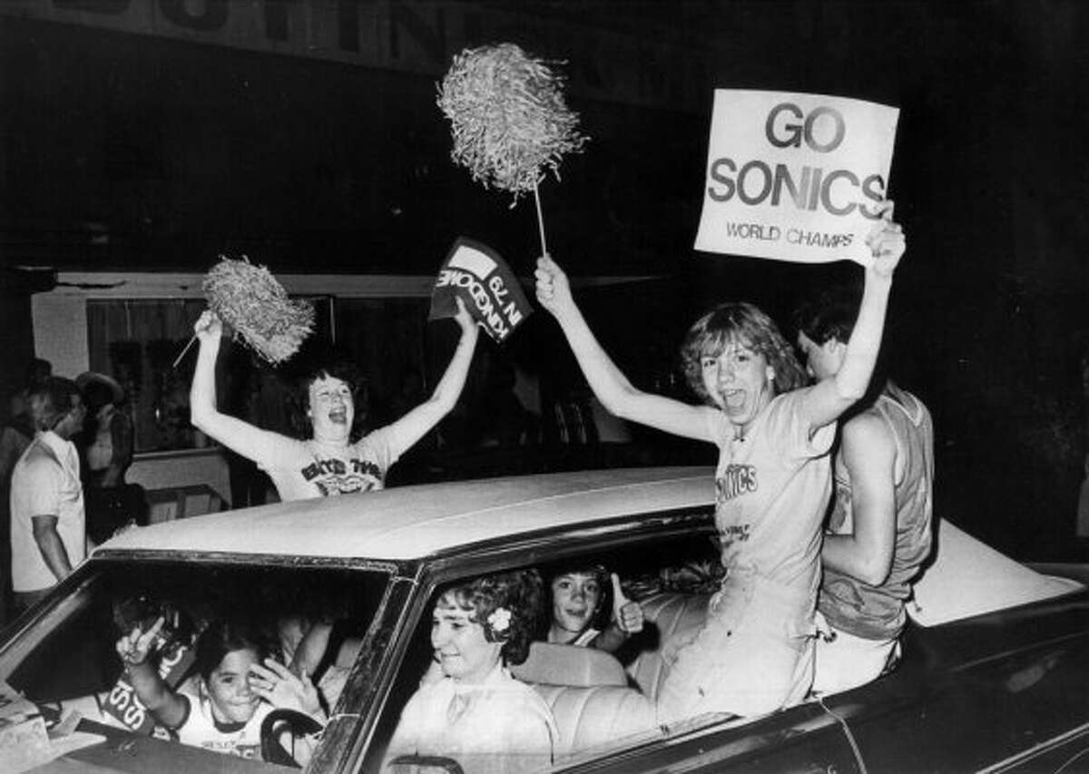 Fans celebrate in Pioneer Square after the Seattle SuperSonics won the 1979 NBA championship.