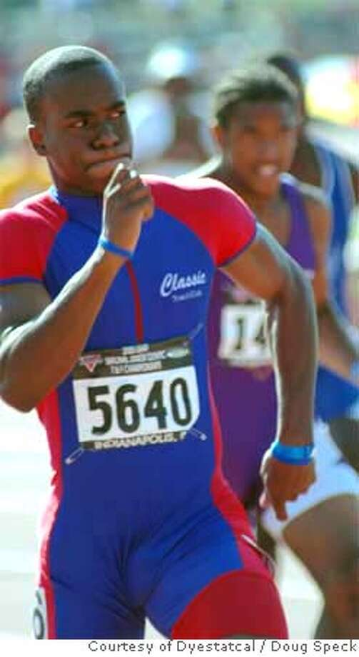 Photo of Salesian junior sprinter Jahvid Best. This is of him during the Junior Olympics in Indianapolis last July, when he finished first in the 200 meters and third in the 100. PHOTO BY DOUG SPECK/COURTESY OF DYESTATCAL.COMRan on: 04-05-2006  Jahvid Best is not only a top-notch sprinter but excels on the football field as well.Ran on: 04-05-2006 Photo: DOUG SPECK/COURTESY OF DYESTATCA