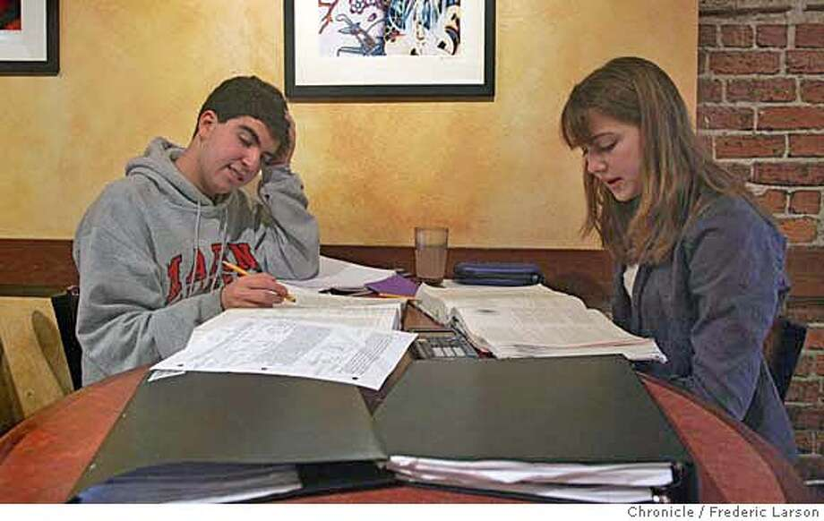 Davey Feder is studying at a San Rafael coffee house for his AP (advanced placement) Physics test with a fellow student Rachel Schrier (both seniors age 17) as the stress of getting into the best college goes high gear. ***Davey Feder and Rachael Schrier  12/13/06  {Photographed by Frederic Larson} Davey Feder is studying at a San Rafael coffee house for his AP (advanced placement) Physics test with a fellow student Rachel Schrier (both seniors age 17) as the stress of getting into the best college goes high gear. ***Davey Feder and Rachel Schrier  12/13/06  {Photographed by Frederic Larson} MANDATORY CREDIT FOR PHOTOGRAPHER AND SAN FRANCISCO CHRONICLE/ -MAGS OUT Photo: Frederic Larson