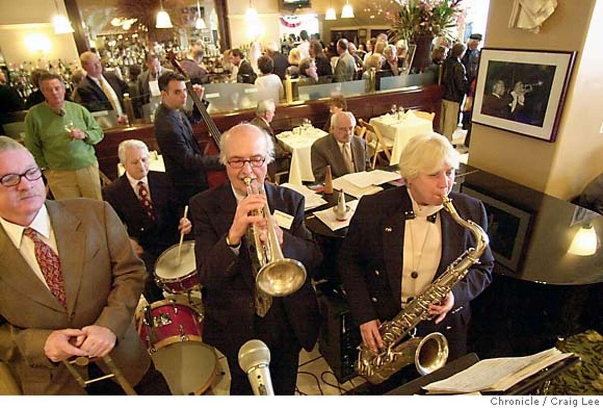 Moose's mainstay: A band celebrates Herb Caen Days. Chronicle photo, 2002, by Craig Lee