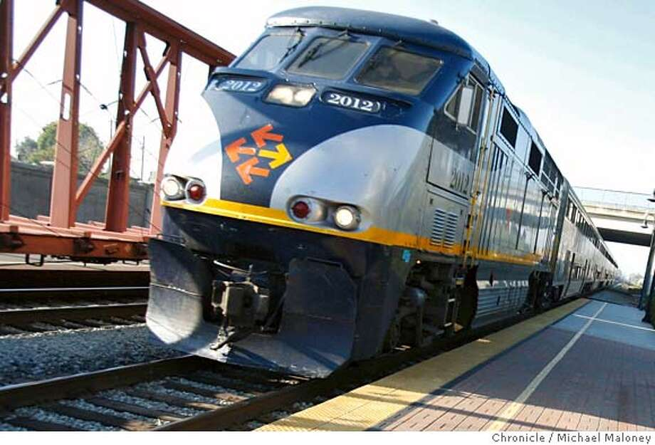 In this file photo, A southbound Capitol Corridor train pulls up to the Hayward station. A man and his dog were struck and killed this morning on the train tracks in Hayward. Photo: Michael Maloney