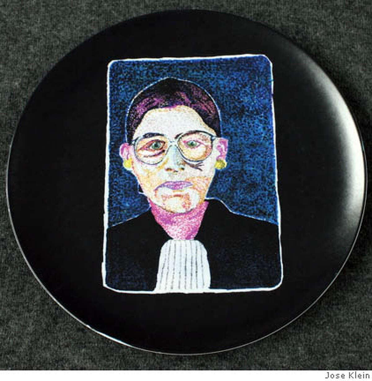 Ruth Bader Ginsburg, from artist José Klein's Supremes collection of melamine plates. Photo courtesy of José Klein