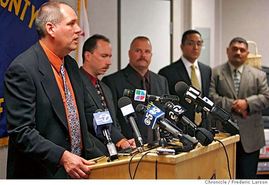 "Sgt. Scott Dudek (far left) with other investigators (locally and Mexico) who where involved in the ""Jane Doe"" case (left to right next to Dudek) detectives, Greg Landeros, E.B. Chicoine, Miguel F. Ibarra and Rafael Alvarez. The investigating team held a press conference in San Leandro about the three-year mystery of the identification of a teenage girl -- long called Jane Doe -- whose body was dumped behind a Castro Valley restaurant in 2003. Sheriff's investigators, capping a three-day trip in the Yahualica, Jalisco, region of Mexico where she lived, are confident that they now know the name of the 16-year-old girl after speaking to her mother. The girl's body was found in May 2003, stuffed in a green canvas bag outside the Carrows Restaurant at 2723 Castro Valley Blvd. She had died of asphyxiation from a rag pushed down her throat.  12/11/06  {Photographed by Frederic Larson} MANDATORY CREDIT FOR PHOTOGRAPHER AND SAN FRANCISCO CHRONICLE/ -MAGS OUT Photo: Frederic Larson"