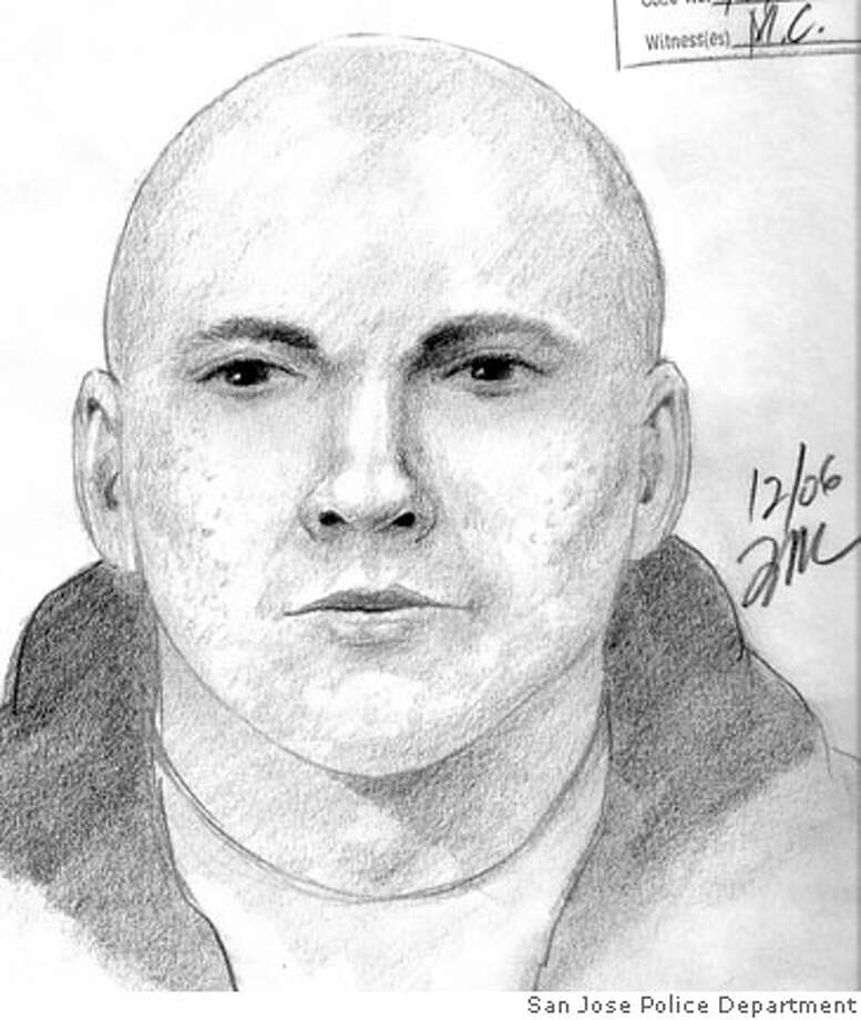 San Jose police released a sketch of a man suspected of killing a man in a parking lot. Sketch courtesy San Jose Police Department
