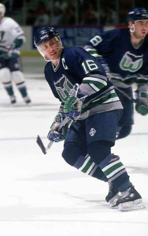 14 JAN 1994:  PAT VERBEEK, RIGHT WING FOR THE HARTFORD WHALERS, SKATES AGAINST THE MIGHTY DUCKS OF ANAHEIM DURING THE DUCKS'' 6-3 WIN AT THE POND IN ANAHEIM, CALIFORNIA. Mandatory Credit: Glenn Cratty/ALLSPORT Photo: Glenn Cratty, Getty Images / Getty Images North America