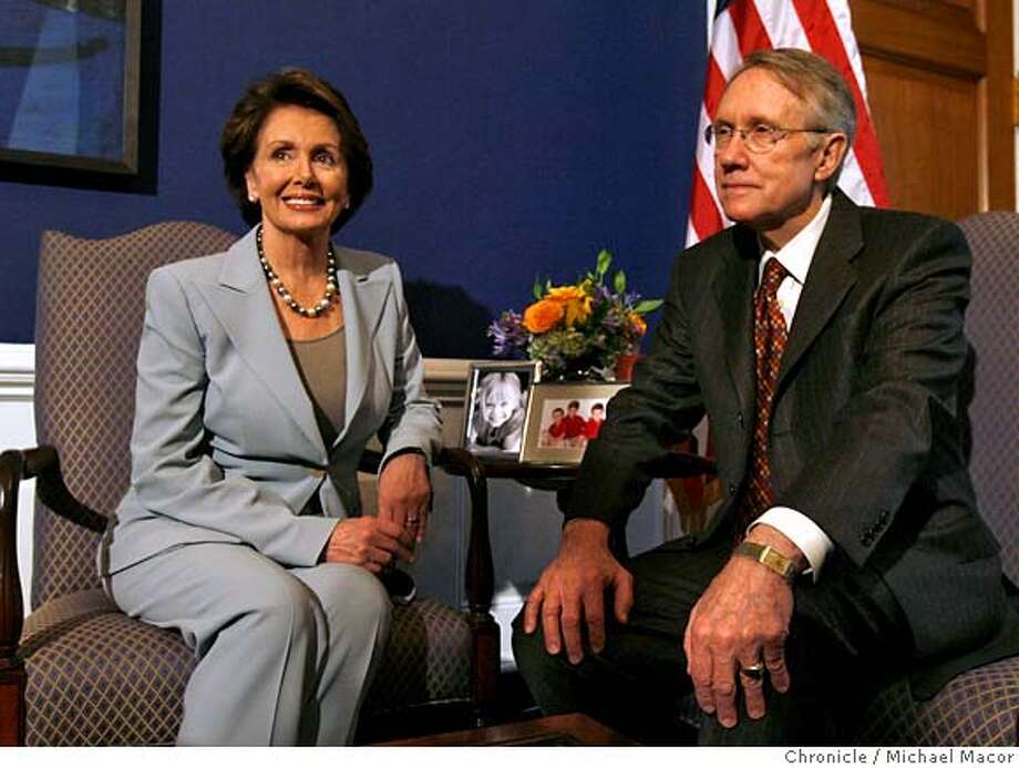 pelosiDC_181_mac.jpg Democratic Leader, Nancy Pelosi meets with Minority Leader Harry Reid, in her US Capitol office, the day after the Democrats win the majority in the House of Representatives. Event in, Washington, DC, on 11/8/06. Photo by: Michael Macor/ San Francisco Chronicle Mandatory credit for Photographer and San Francisco Chronicle / Magazines Out Photo: Michael Macor