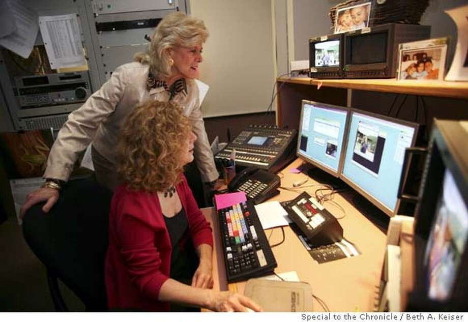 "Correspondent Lynn Sherr works with ""20/20"" video editor Sharon Kaufman at an ABC studio in New York. Photo by Beth A. Keiser, special to the Chronicle"