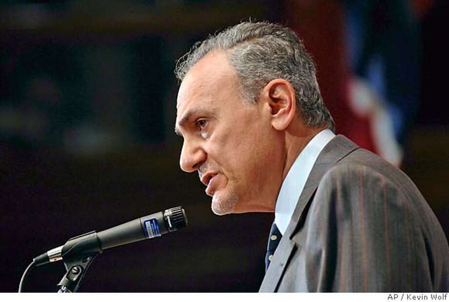 """Saudi Arabia's ambassador to the U.S. Prince Turki bin al-Faisal, seen in this Nov. 8, 2005 photo in Washington, was interviewed by The Associated Press in Washington, Thursday, Dec. 8, 2005. During a wide ranging interview, al-Faisal said he thinks Osama bin Laden may no longer be in charge of al-Qaida, he called Isreal's decision to pull out of the Gaza Strip a """"remarkable achievement,"""" and he said his country has concerns that Iran is meddling in the establishment of government in Iraq. (AP Photo/Kevin Wolf/File) Photo: KEVIN WOLF"""