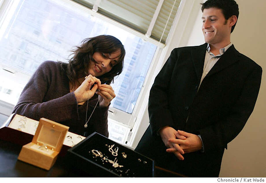"""DIAMONDS_0059_KW_.jpg (L TO R) Beth Gerstein and Eric Grossberg co-owners of Brilliant Earth, a company that sells """"conflict free diamonds"""" from Canada pose in their San Francisco office with some of their jewelry on Tuesday December 5, 2006 . Ran on: 12-10-2006  Beth Gerstein and Eric Grossberg are co-owners of Brilliant Earth, which sells &quo;conflict free diamonds&quo; from Canada. Photo: Kat Wade"""