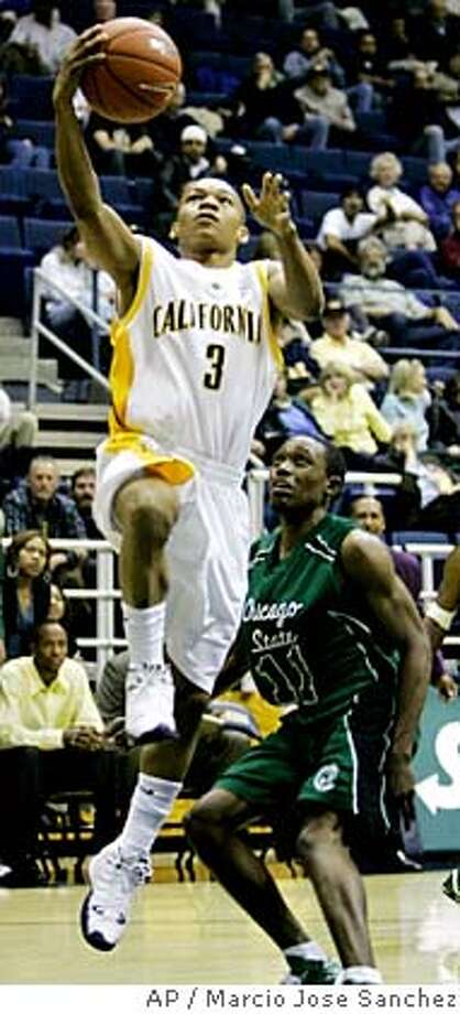 California's Jerome Randle (3) goes up for a layup next to Chicago State's Royce Parran (11) in the first half of a Golden Bear Classic basketball tournament game in Berkeley, Calif., Friday, Dec. 8, 2006.(AP Photo/Marcio Jose Sanchez) Photo: MARCIO JOSE SANCHEZ