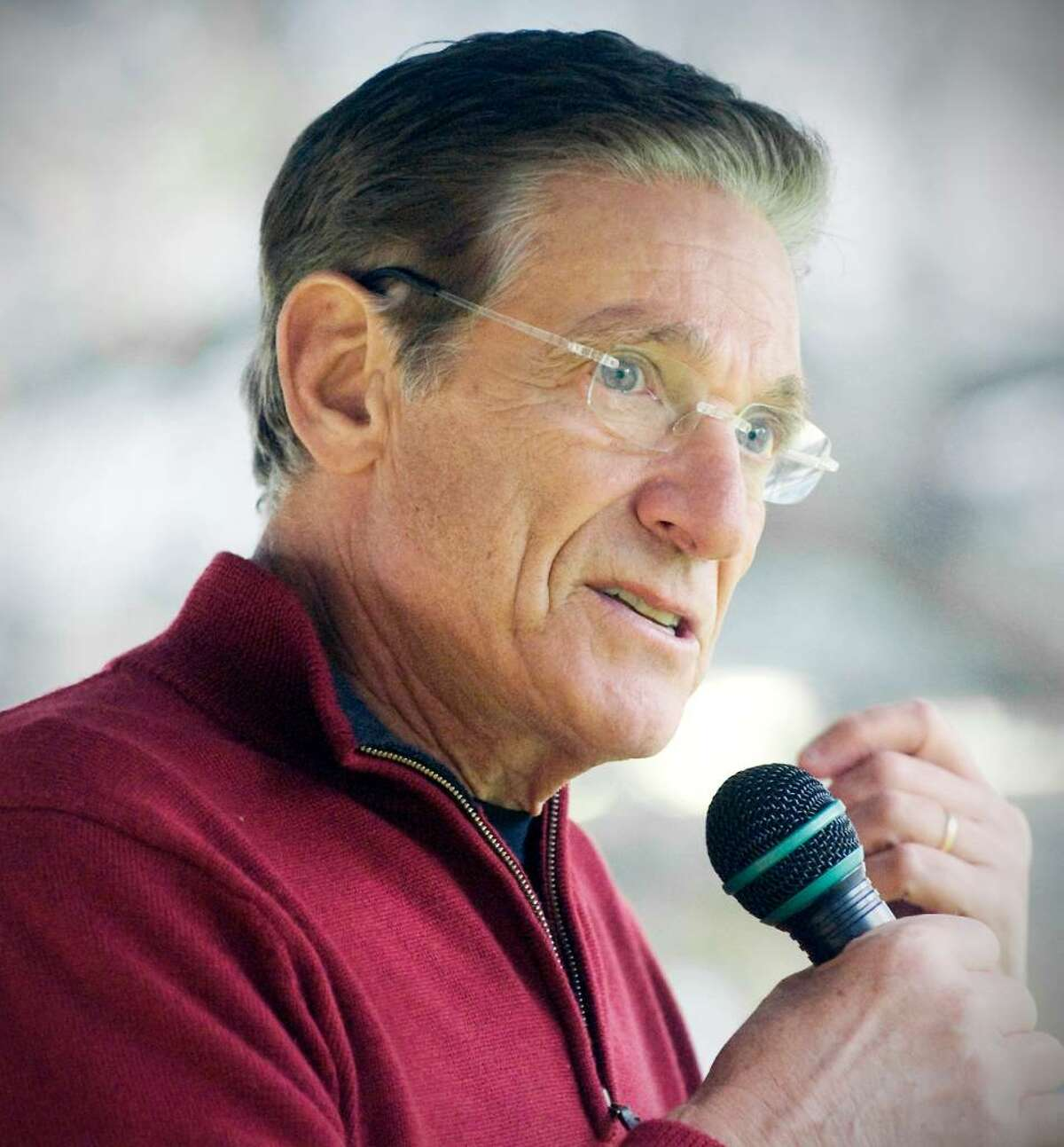 Talk show host Maury Povich addresses the crowd at a balloon training session and press conference in Latham Park for the 2009 UBS Parade Spectacular in Stamford, Conn. on Thursday, November 12, 2009. Povich and his wife Connie Chung are the grand marshals of the parade.