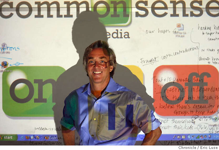 commonsense_0029_el.jpg  Common Sense Media CEO James Steyer with a portion of their website projected over him. They are a organization that helps set standard for parents to use as a way to safeguard their children from certain media. Photographed on Jujne 1, 2006 at Common Sense Media Ran on: 12-08-2006  CEO Jim Steyer's guide helps parents trying to decide what's appropriate for their kids. Photo: Eric Luse