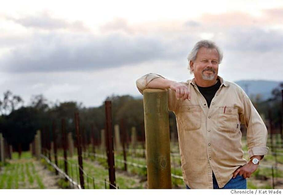 WINEMAKERS_Moore_0008_KW_.jpg  Winemaker Jim Moore, whose makes wine under the label l'Uvaggio di Giacomo, poses for a portrait on Wednesday November 22, 2006, at the Black Stallion Winery in Napa. Ran on: 12-08-2006  Mitchell Katz Mitchell Katz Winery  Ran on: 12-08-2006  Jim Moore's day job at Black Stallion Winery still leaves him time to focus on his own label, L'Uvaggio di Giacomo. Photo: Kat Wade