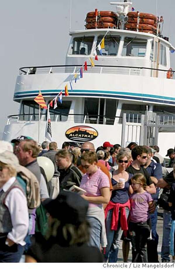 Protesters in front of Hornblower Cruises, which took over the ferry service to Alcatraz. on Sept. 24th, 2006. MANDATORY CREDIT FOR PHOTOG AND SF CHRONICLE/ -MAGS OUT Photo: Liz Mangelsdorf
