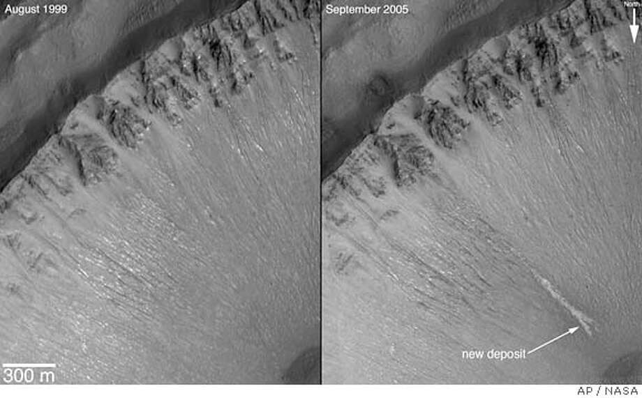 This combination of photos released by NASA show two views of a crater in the Centauri Montes region on Mars taken by NASA's Mars Global Surveyor. The image on the right, taken in 2005, shows an area with changes to the surface, suggesting that water occasionally flows on the frigid surface of Mars, raising the tantalizing possibility that the Red Planet is hospitable to life. The image on the left shows the same view of that crater in taken 1999. (AP Photo/NASA) Photo: Nasa