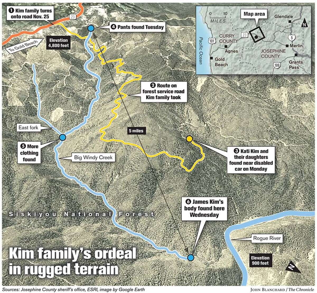 Kim family's ordeal in rugged terrain. Chronicle graphic by John Blanchard