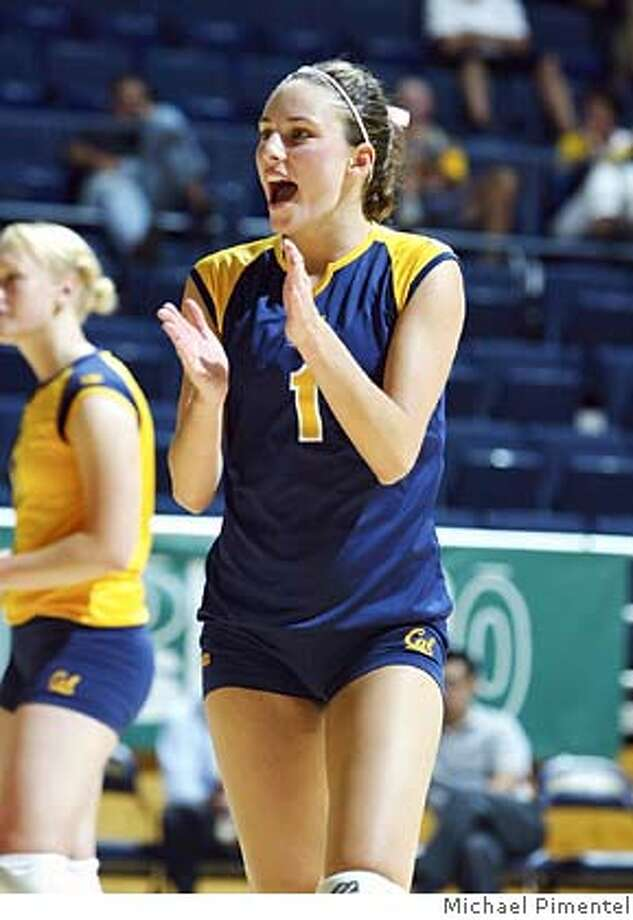 Photo of Cal volleyball player Jillian Davis, clapping Photo: Michael Pimentel/Courtesy Cal Me