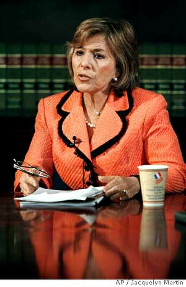 Sen. Barbara Boxer, D-Calif., the incoming chairman of the Senate Environment Committee, takes part in an interview with The Associated Press in Washington, Tuesday, Dec. 5, 2006. (AP Photo /Jacquelyn Martin) Photo: JACQUELYN MARTIN