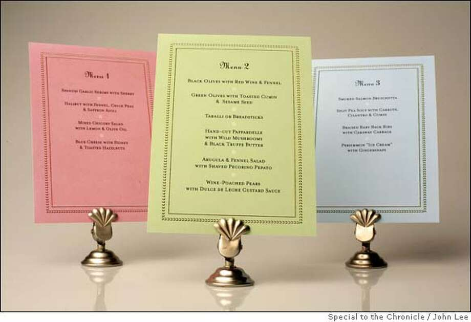 NINETY06_MENU07JOHNLEE.JPG  Three menu cards for the 90-minute dinner party.  By JOHN LEE/SPECIAL TO THE CHRONICLE Photo: JOHN LEE