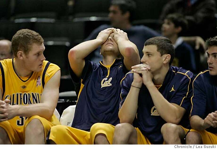 newell_754_ls.JPG  UC Berkeley Golden Bear teammates watch from the bench near the end of the game.  UC Berkeley Golden Bears vs. University of Nevada Wolf Pack in the Pete Newell Challenge at the HP Arena in San Jose on Sunday, December 3, 2006. Photo by Lea Suzuki/The San Francisco Chronicle  Photo taken on 12/3/06, in San Jose, CA. **(themselves) cq. Photo: Lea Suzuki