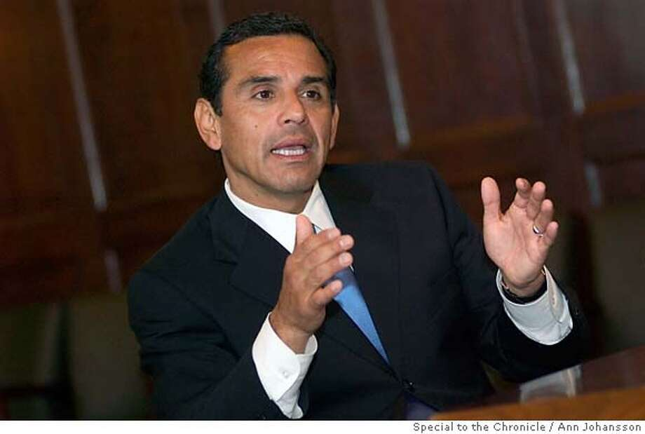 Los Angeles Mayor Antonio Villaraigosa speaks during an interview at City Hall in Los Angeles, Monday, May 8, 2006. Ran on: 05-14-2006  Antonio Villaraigosa calls immigration one of many issues.  Ran on: 05-14-2006  Antonio Villaraigosa, who attended early immigration-rights rallies, stresses that he is the mayor for everyone, not just Latinos. Photo: Ann Johansson