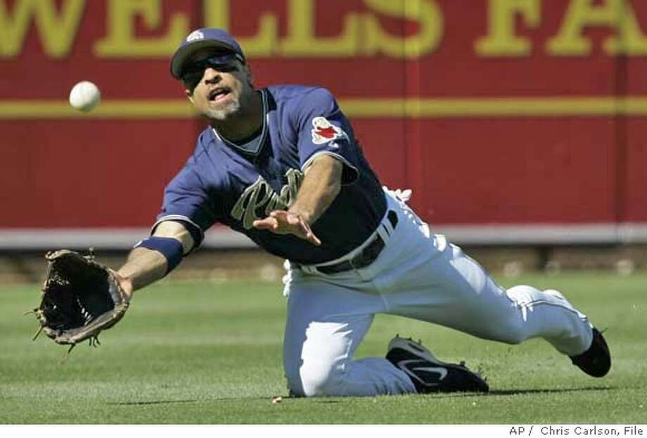 In this 2006 file photo, San Diego Padres left fielder Dave Roberts makes a diving catch. Photo: CHRIS CARLSON