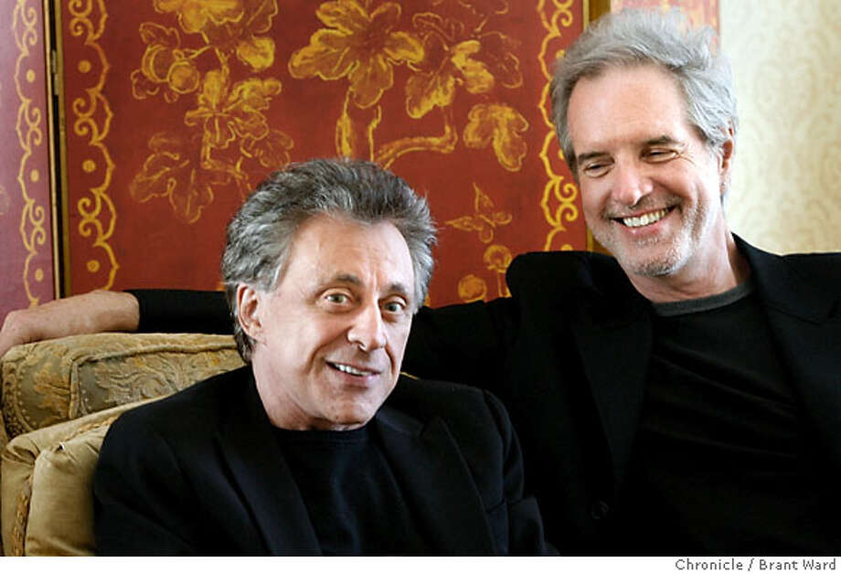 "jersey118.jpg  Frankie Valli, left and Bob Gaudio were half of the Four Seasons, the 60s singing group whose life is the basis for the hit musical ""Jersey Boys"" coming to San Francisco in December. The two were in SF at the Fairmont Hotel for press interviews.{Brant Ward/The Chronicle} 10/16/06 MANDATORY CREDIT FOR PHOTOGRAPHER AND SAN FRANCISCO CHRONICLE/ -MAGS OUT Photo: Brant Ward"