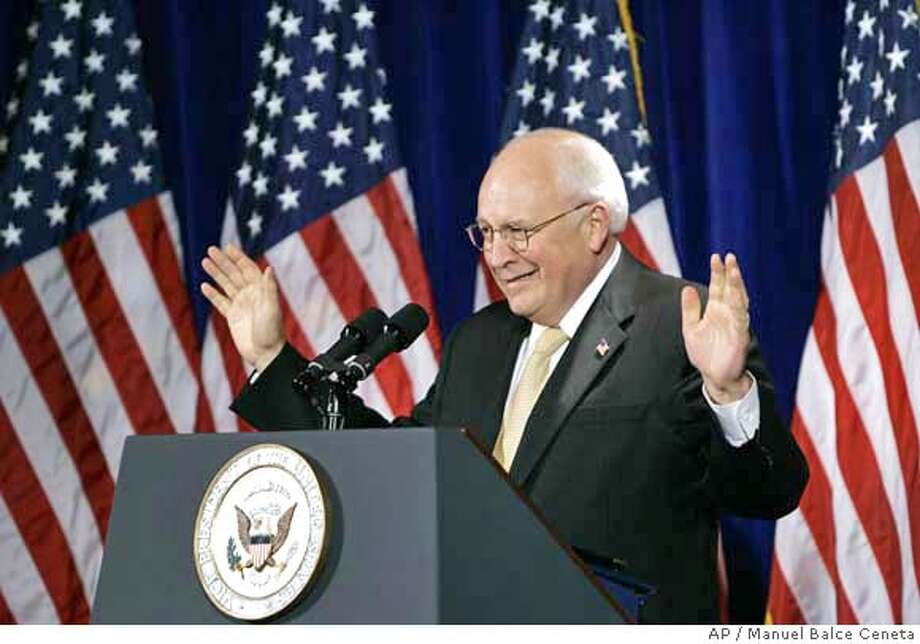 Vice President Dick Cheney, responds to the crowd at the Federalist Society's 6th annual Barbara K. Olson Memorial Lecture on Limited Goivernment and the Spirit of Freedom, Friday, Nov. 17, 2006, in Washington. Cheney assured a conservative lawyers' group on Friday that the Republican loss of Congress in this month's elections would not dissuade President George W. Bush from nominating judges who believe in interpreting law rather than making law. (AP Photo/Manuel Balce Ceneta) Photo: MANUEL BALCE CENETA