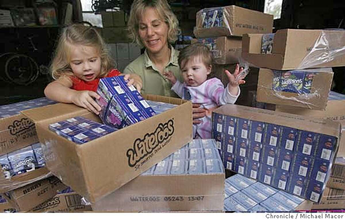 Roberta Greenspan with daughters, Megan, 4 and Paige, 5 months. Boxes of their product stored in the family garage. Parent entrepreneurs, people who start businesses based on needs they discover while raising their own kids. This photo is of Roberta Greenspan, a former software executive who has started a business producing Wateroos, beverage boxes like juice boxes only filled with water. Greenspan got the idea for the business because she didn't want to give her daughter sweetened juices, but plastic sippy cups kept leaking in her purse. Event in, Hayward, Ca, on 11/17/06. Photo by: Michael Macor/ San Francisco Chronicle