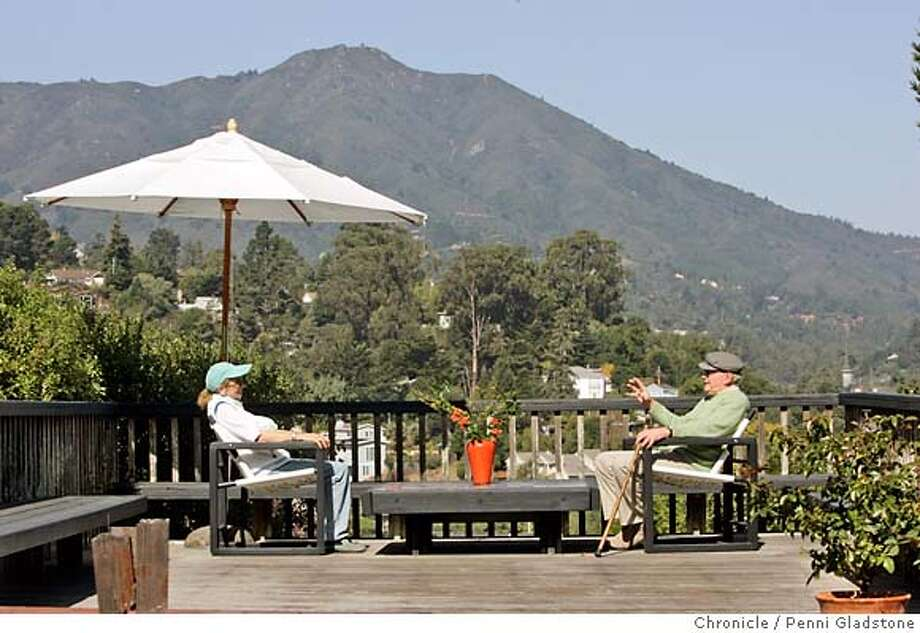 ROYSTON_garden  Hanalore and Robert sit in chairs he designed, on their deck with Mount Tamalpais looming over them. Landscape architect Robert Royston at home. Royston is one of the first modern landscape architects focused on residential gardens Event on 10/11/06 in Mill Valley.  Penni Gladstone / The Chronicle MANDATORY CREDIT FOR PHOTOG AND SF CHRONICLE/ -MAGS OUT Photo: Penni Gladstone