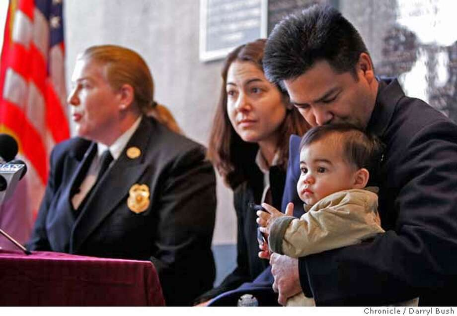 "firefighter_003_db.JPG  Parents of sick boy, Stephanie Isaacson, center, and San Francisco firefighter, O.J. Leonardo talk at a news conference as O.J. Leonardo kisses their son Lucas, 1, at San Francisco Fire Dept. headquarters on 2nd St., as they and fire chief Joanne Hayes-White, back, announce the ""Harrison Leonardo Bone Marrow Drive,"" for the couple's other son, Harrison Leonardo, 2, who is sick and in need of a match for bone marrow. Harrison Leonardo has Acute Myelogenous Leukemia and is at Children's Hospital in Oakland. in San Francisco, CA, on Thursday, November, 30, 2006. 11/30/06  Darryl Bush / The Chronicle ** Stephanie Isaacson, O.J. Leonardo, Harrison Leonardo, Lucas Leonardo (cq) Ran on: 12-01-2006  Stephanie Isaacson (center), O.J. Leonardo, son Lucas and Fire Chief Joanne Hayes-White announce the &quo;Harrison Leonardo Drive.&quo;  Ran on: 12-01-2006 Ran on: 12-01-2006  Stephanie Isaacson (center), O.J. Leonardo, son Lucas and Fire Chief Joanne Hayes-White announce the &quo;Harrison Leonardo Drive.&quo; Photo: Darryl Bush"
