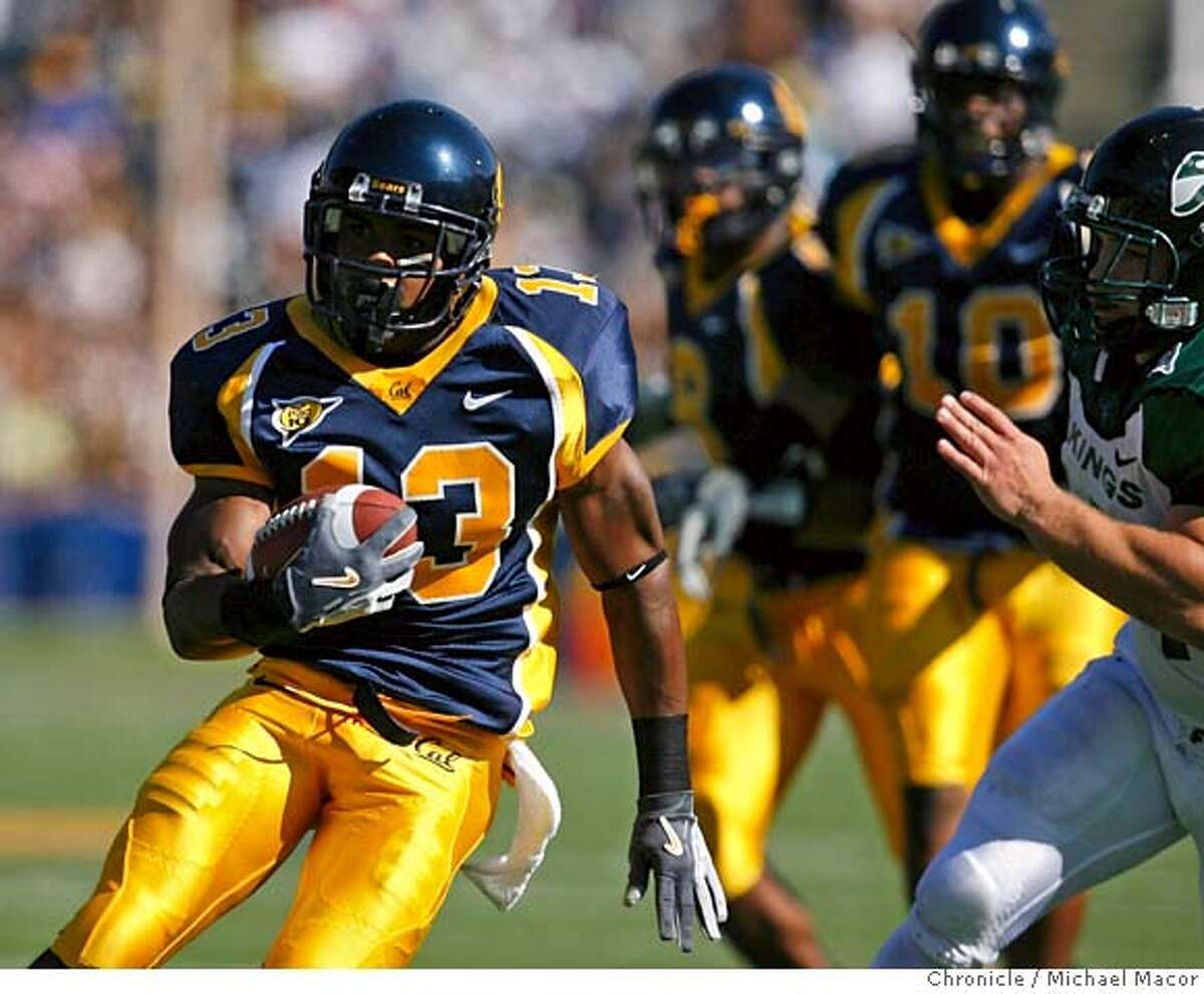 cal_125_mac.jpg Cal's 13- Daymeion Hughes runs back an interception in the 1st quarfter for a touchdown, 30 yards on the play. College Football. UC California Golden Bears vs. Portland State. Event in, Berkeley, Ca, on 9/16/06. Photo by: Michael Macor/ San Francisco Chronicle Mandatory credit for Photographer and San Francisco Chronicle / Magazines Out