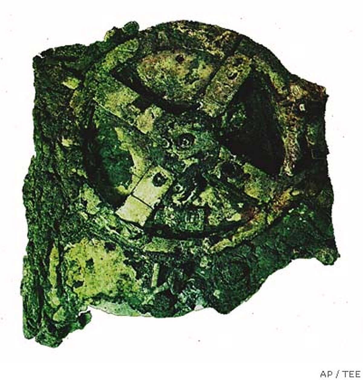An undated handout picture of the mysterious Antikythira Mechanism, one of the study items at the second International Conference of Ancient Greek Technology due to take place in Athens, Greece, from October 17-20, 2005. The 2,000-year-old system of cogs and wheels, found in a badly corroded state in an ancient shipwreck off southern Greece, was probably used for astronomical calculations. (AP Photo/TEE) ** : ** HANDOUT: :