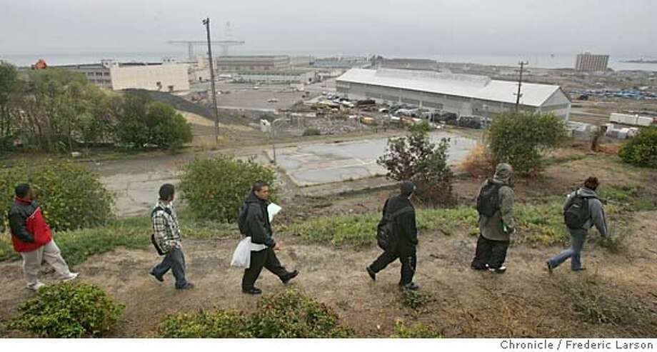 "A group of High School kids from Downtown High School in SF when on a ""Toxic Tour"" where they wind their way through Bayview-Hunters Point, stopping at the Hunters Point shipyard, the power plant, the public housing developments and other locations that you won't find in any official tourist guides to the city. The neighborhood's high levels of toxicity contribute to the extremely poor health of its residents who are hospitalized for all common diseases including ashtma and diabetes at higher rates than anybody else in San Francisco. A nonprofit called Literacy for Environmental Justice leads the Toxic Tours and today, a high school class will be along for the walk. 11/3/06  {Photographed by Frederic Larson} Ran on: 11-28-2006  Radiological research was conducted at this Navy site.  Ran on: 11-28-2006  Radiological research was conducted at this Navy site. Photo: Frederic Larson"