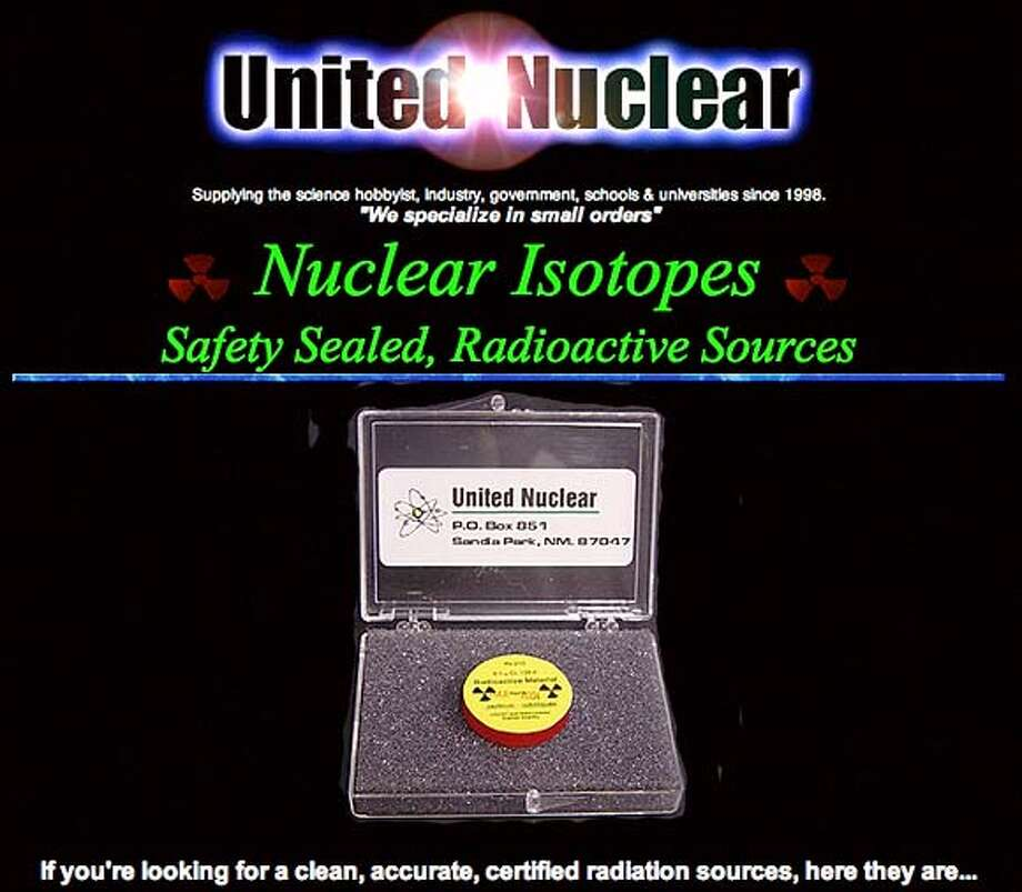 Screen grab from www.unitednuclear.com, a Web site that sells radioactive isotopes. Photo: Unitednuclear.com