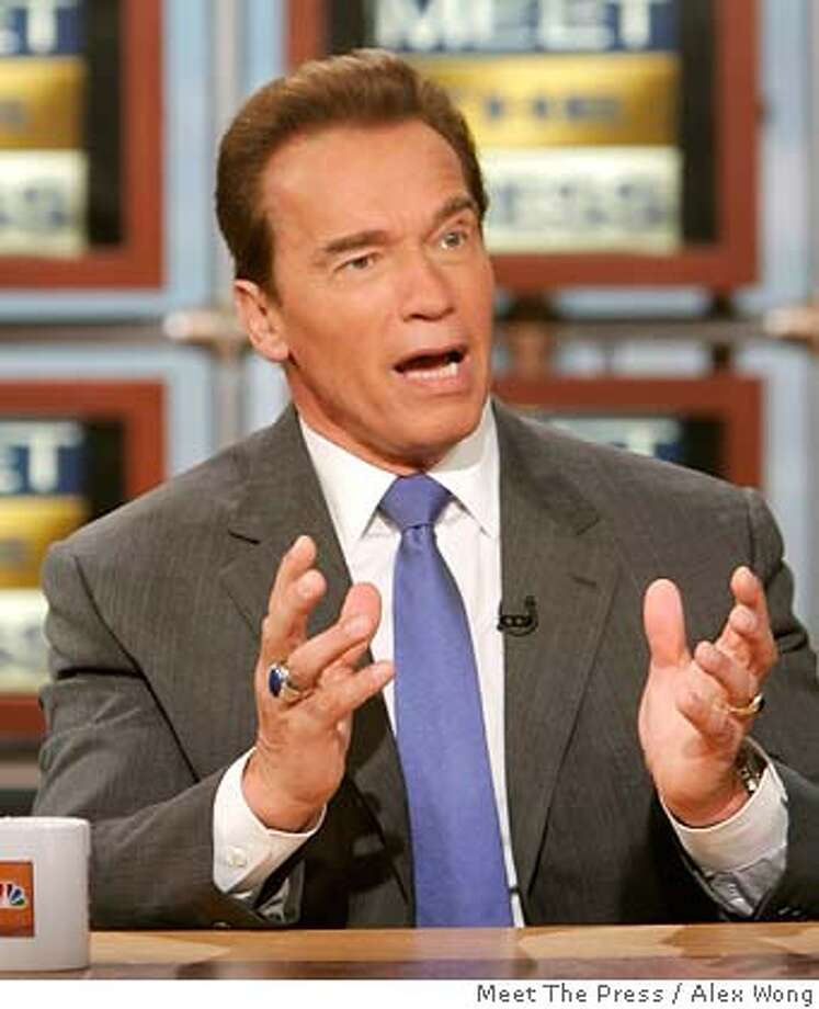 """In this photograph provided by """"Meet the Press,"""" California Gov. Arnold Schwarzenegger appears on """"Meet the Press'"""" Sunday, Nov. 26, 2006, at the NBC studios in Washington. (AP Photo/Meet The Press, Alex Wong) ** , NO ARCHIVE, MUST USE BEFORE DEC. 3, 2006, MUST CREDIT """"MEET THE PRESS"""" ** , NO ARCHIVE, MUST USE BEFORE DEC. 3, 2006, MUST CREDIT """"MEET THE PRESS"""" Photo: ALEX WONG"""
