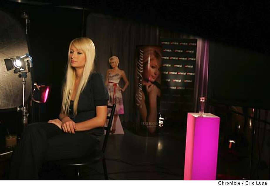 hilton_185_el.JPG  During the interview session.  Paris HIlton promoting her perfume Heiress at Macy's in San Francsico Photographer:  Eric Luse / The Chronicle names cq with source MANDATORY CREDIT FOR PHOTOG AND SF CHRONICLE/ -MAGS OUT Photo: Eric Luse